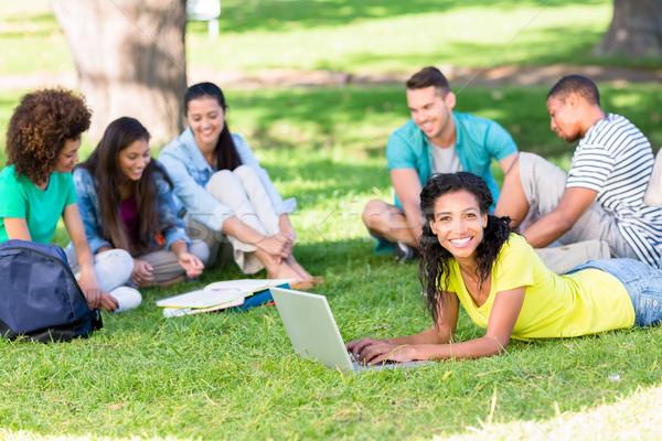 Grup Öğrenciler eğitim kampus portre mutlu Stok fotoğraf © wavebreak_media