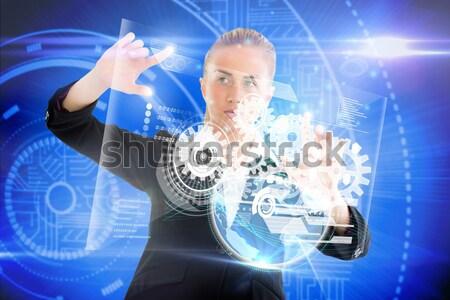 Dedo senalando datos interfaz compuesto digital diseno Foto stock © wavebreak_media