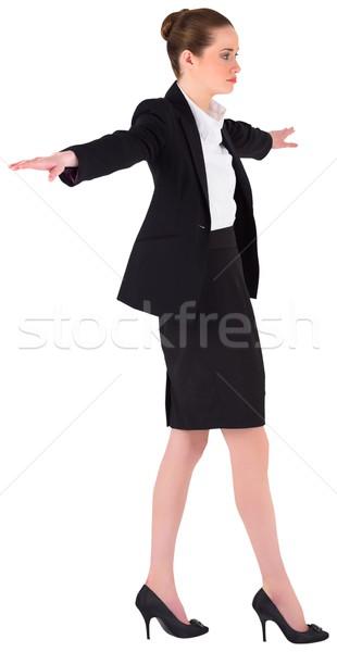 Stockfoto: Zakenvrouw · balancing · handelen · witte · lopen