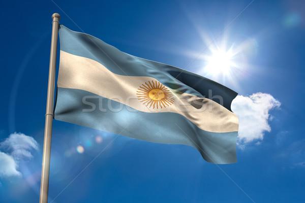 Аргентина флаг флагшток Blue Sky солнце свет Сток-фото © wavebreak_media