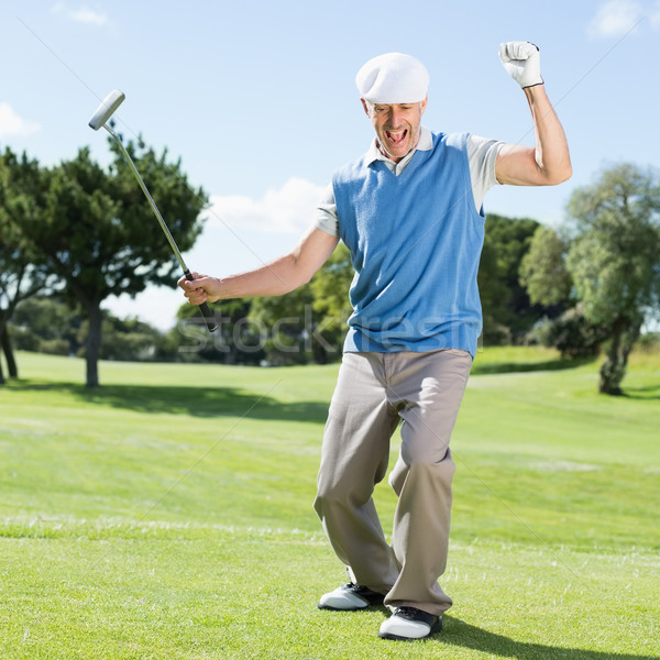 Excited golfer cheering on putting green Stock photo © wavebreak_media