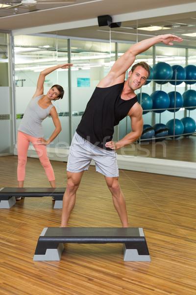 Uygunluk sınıf adım aerobik spor salonu mutlu Stok fotoğraf © wavebreak_media