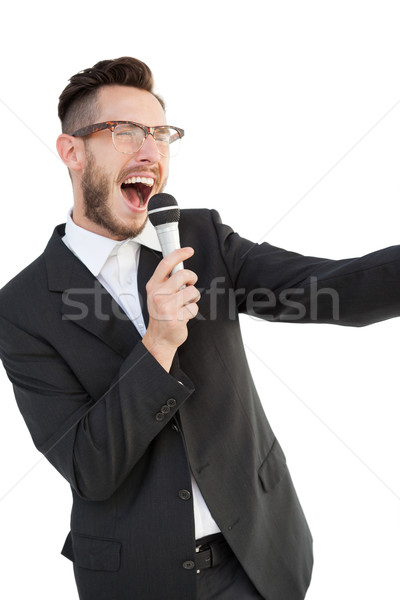 Entusiasta alto-falante falante microfone branco negócio Foto stock © wavebreak_media