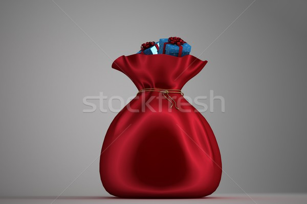 Mikulás zsák tele ajándékok szürke piros Stock fotó © wavebreak_media