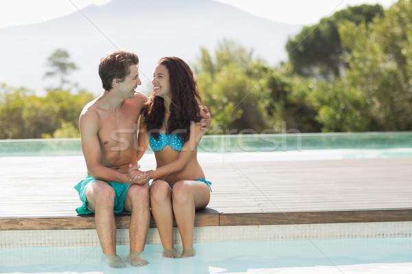 Romantik yüzme havuzu sevmek adam Stok fotoğraf © wavebreak_media