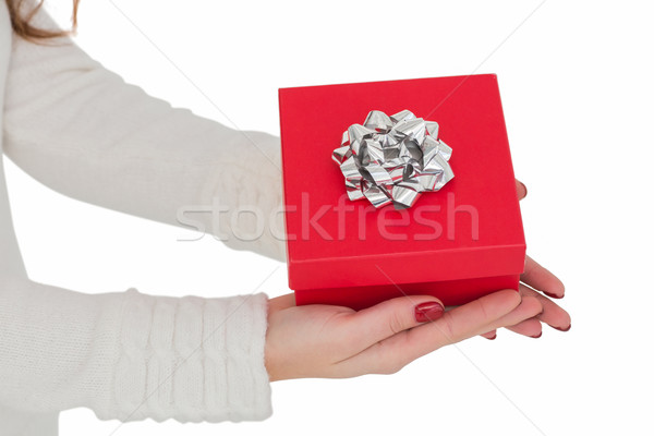 Woman with nail varnish holding red gift  Stock photo © wavebreak_media