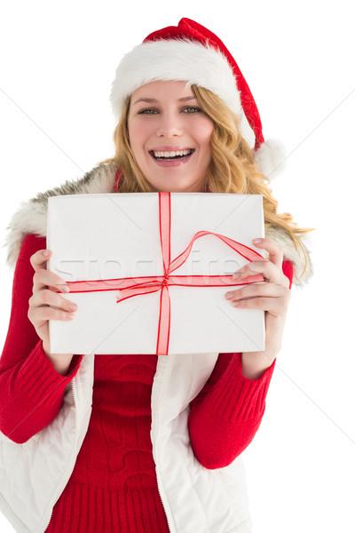 Mooie blond warme kleding geschenk witte Stockfoto © wavebreak_media