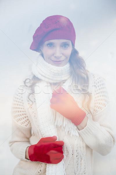 Mooie warme kleding glas venster vrouw Stockfoto © wavebreak_media