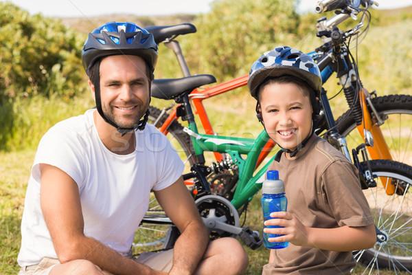 Syn ojca rowerów człowiek szczęśliwy chłopca Zdjęcia stock © wavebreak_media