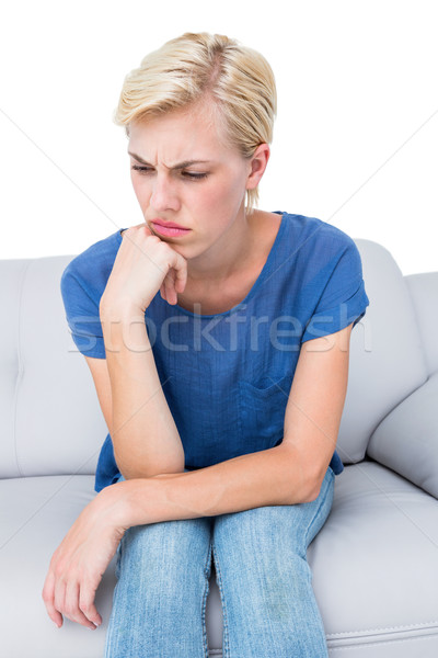 сидят диване белый женщину Сток-фото © wavebreak_media