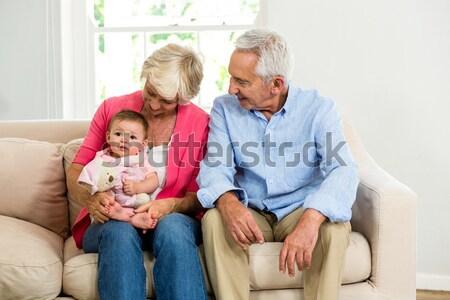 Ojciec dzieci sofa gry szczeniak domu Zdjęcia stock © wavebreak_media