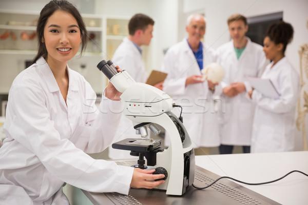 小さな 医学生 作業 顕微鏡 大学 男 ストックフォト © wavebreak_media