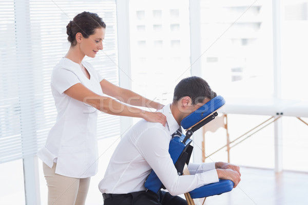 ストックフォト: ビジネスマン · 戻る · マッサージ · 医療 · オフィス · 女性