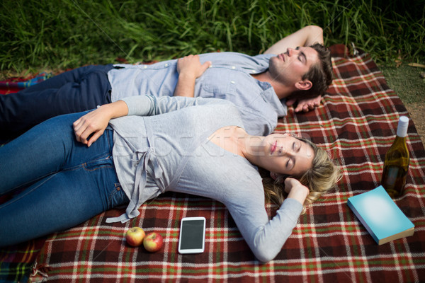 Stock photo: Young couple sleeping on blanket