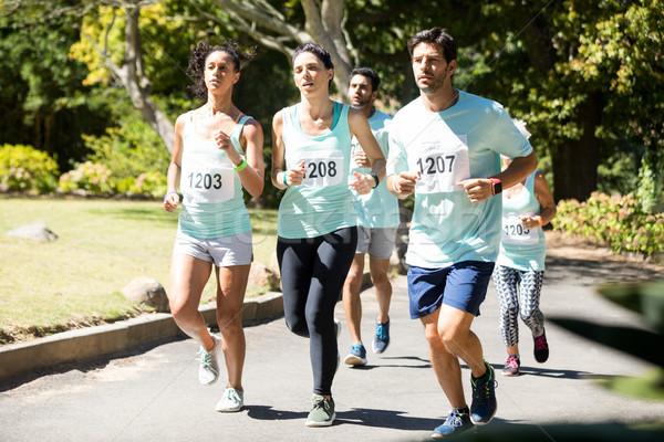 Maratón atletas ejecutando parque determinado mujer Foto stock © wavebreak_media