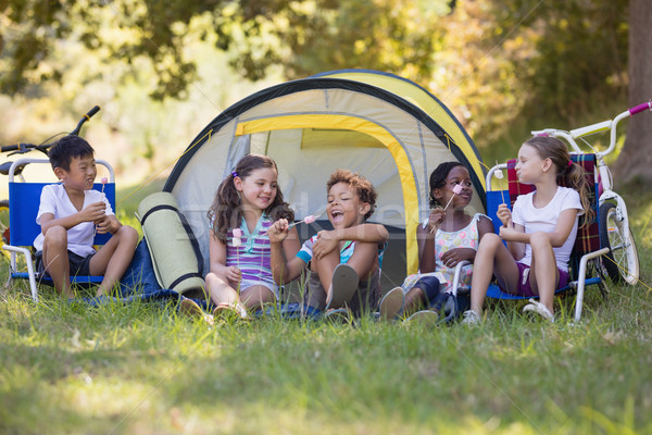 Heureux amis manger bonbons séance à l'extérieur Photo stock © wavebreak_media