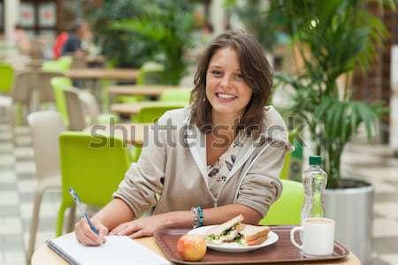 Photo stock: Portrait · souriant · serveuse · alimentaire · plateau