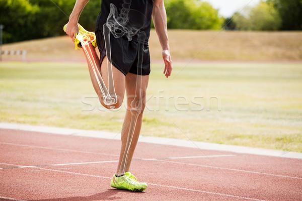 Knochen Athleten Mann Dehnung Rennstrecke digital composite Stock foto © wavebreak_media