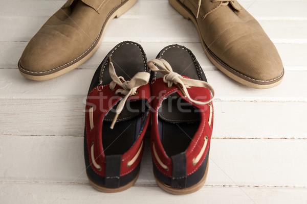 új cipők fából készült palánk fa apa Stock fotó © wavebreak_media