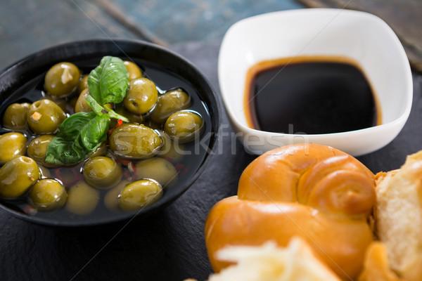 Marine zeytin ekmek parçalar zeytinyağı meyve Stok fotoğraf © wavebreak_media