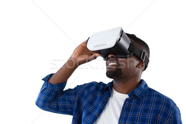 Férfi virtuális valóság headset fehér zöld Stock fotó © wavebreak_media
