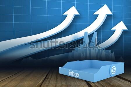 Geschäftsmann stehen blau arrow digital composite Business Stock foto © wavebreak_media