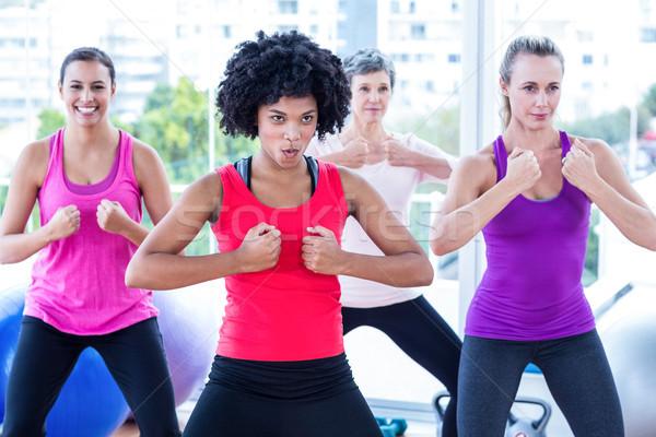 улыбаясь женщины рук фитнес студию женщину Сток-фото © wavebreak_media