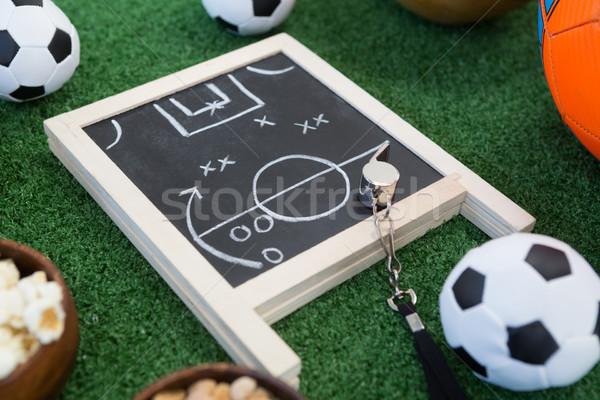 Estrategia bordo silbar fútbol césped artificial primer plano Foto stock © wavebreak_media