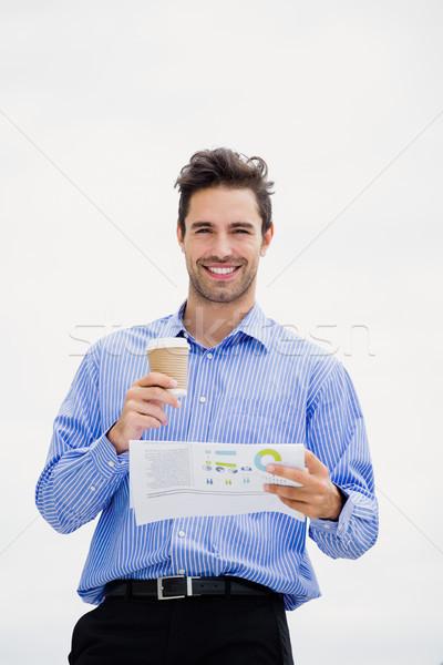 Zakenman lezing krant portret koffie kantoor Stockfoto © wavebreak_media