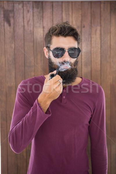 Adam sigara içme boru çalışmak ofis Stok fotoğraf © wavebreak_media