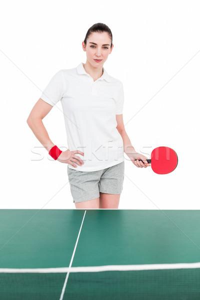 Kobiet sportowiec gry ping pong biały kobieta Zdjęcia stock © wavebreak_media