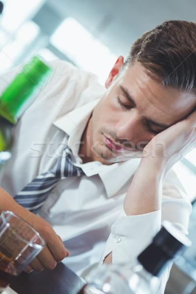 Részeg férfi alszik bár pult étterem Stock fotó © wavebreak_media