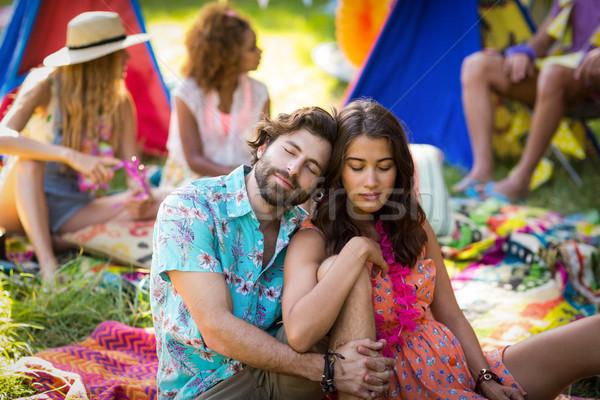 Pár ül táborhely park napos idő szeretet Stock fotó © wavebreak_media