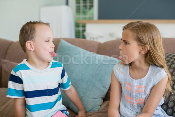 сестра брат Stick из другой диване Сток-фото © wavebreak_media