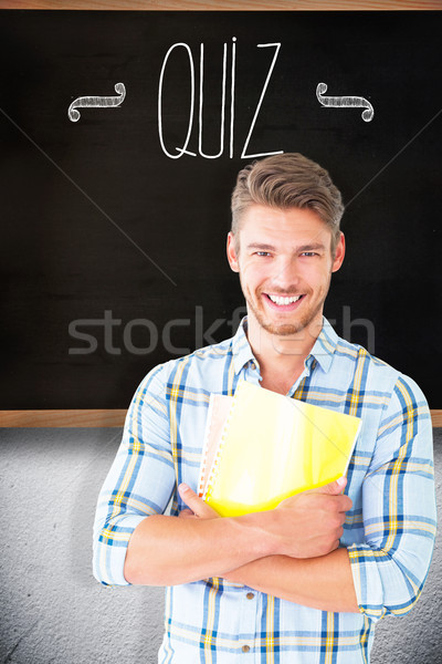 Interrogar quadro-negro sala de aula homem feliz estudante Foto stock © wavebreak_media