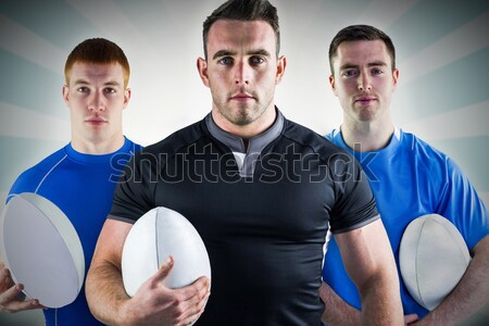 Composite image of tough rugby players Stock photo © wavebreak_media