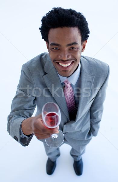 Sorridere imprenditore vetro vino Foto d'archivio © wavebreak_media