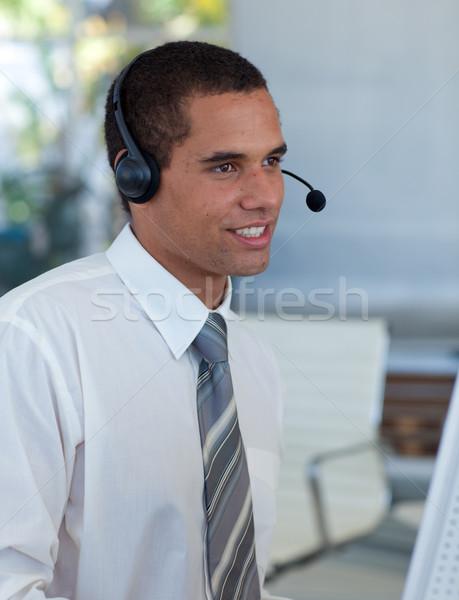 Hispanique affaires travail centre d'appel casque ordinateur Photo stock © wavebreak_media