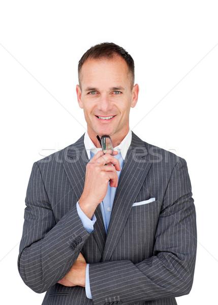 Sorridente empresário óculos isolado branco Foto stock © wavebreak_media