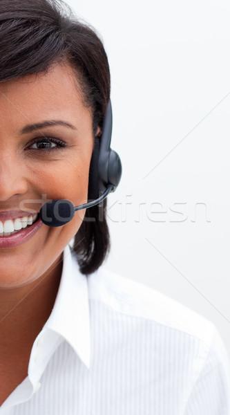 étnico atendimento ao cliente agente fone branco escritório Foto stock © wavebreak_media