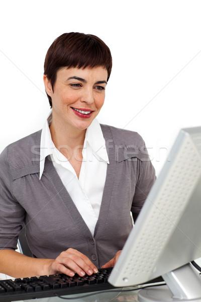 üzletasszony dolgozik számítógép fehér üzlet boldog Stock fotó © wavebreak_media