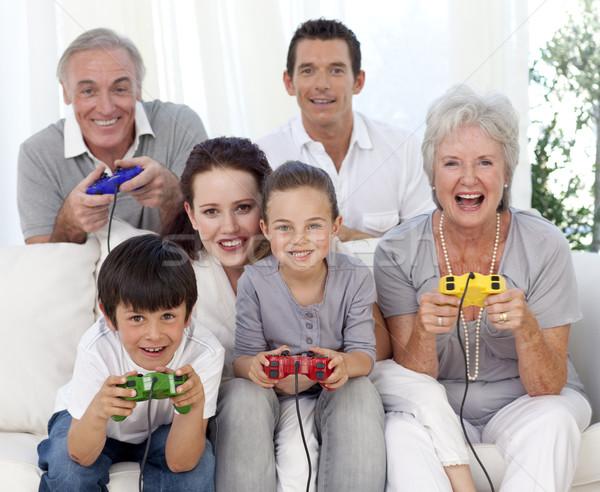 Familie spelen video games home grootouders ouders Stockfoto © wavebreak_media