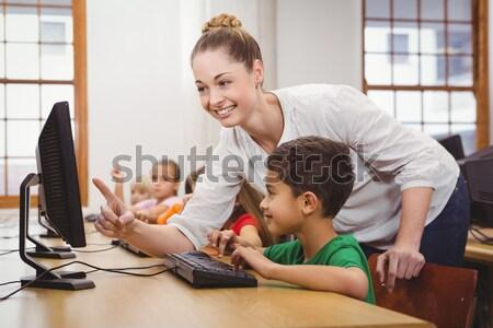 Vader helpen zoon huiswerk man Stockfoto © wavebreak_media