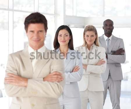 üzleti csapat mutat szellem kifejez pozitivitás férfi Stock fotó © wavebreak_media