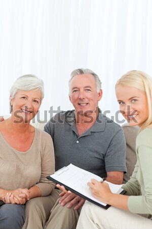 Stockfoto: Senior · arts · werken · laptop · familie · hand