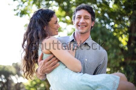 男 妻 ピギーバック 女性 家族 笑顔 ストックフォト © wavebreak_media