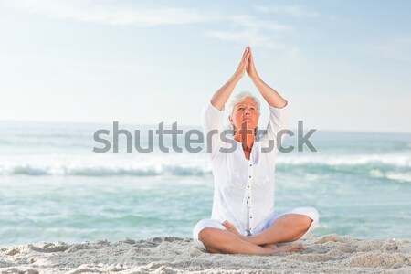 Сток-фото: женщину · йога · пляж · Sexy · фитнес
