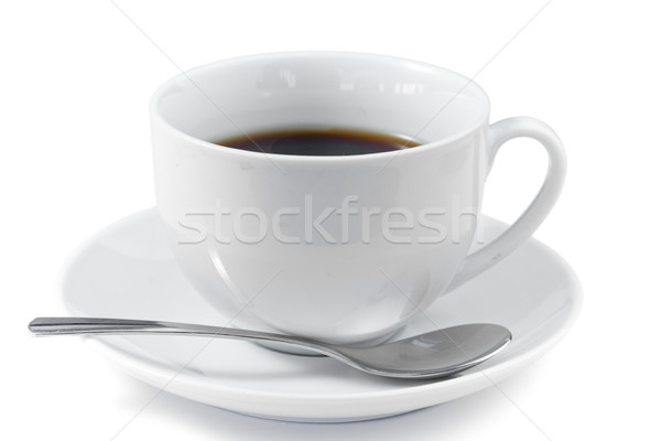 Cup of coffee with spoon and saucer on a white background Stock photo © wavebreak_media