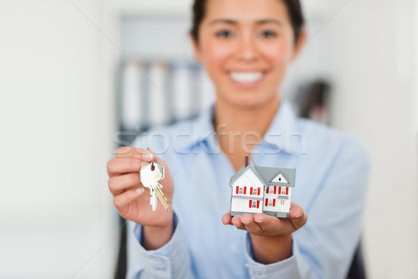 Stock foto: Halten · Schlüssel · Miniatur · Haus · schauen