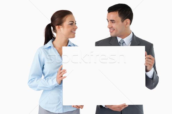 молодые Бизнес-партнеры знак белый рук Сток-фото © wavebreak_media